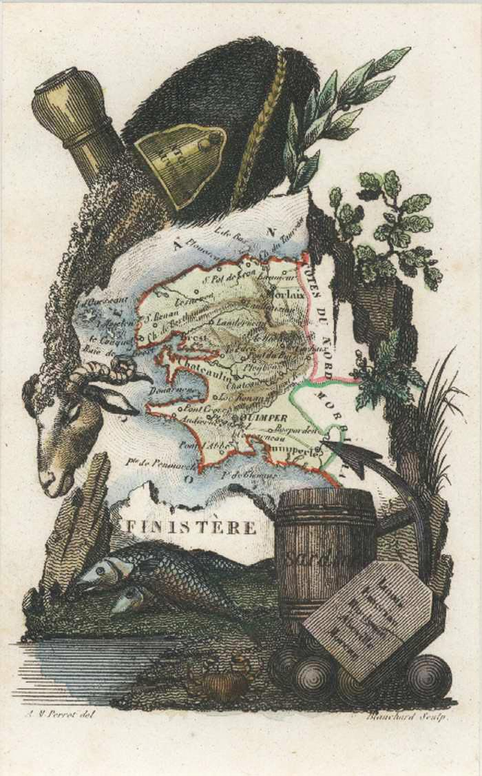 Finistere, West Brittany, France Miniature Antique Map. Perrot c1834