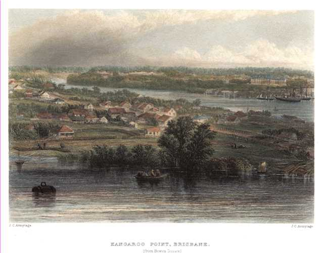 Kangaroo Point, Brisbane. Armytage view from 1874 pair of engravings.