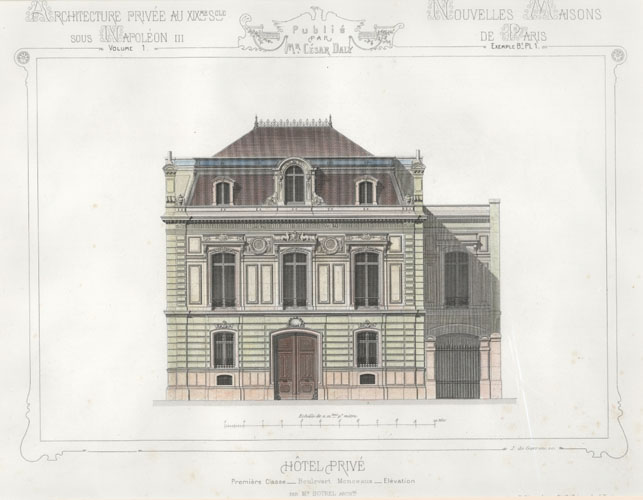 Cesar Daly. French Private Hotel facade elevation c1864.