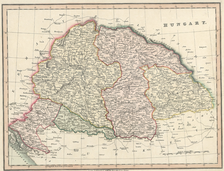 Hungary. Antique Map of fine quality by C.Smith c1836