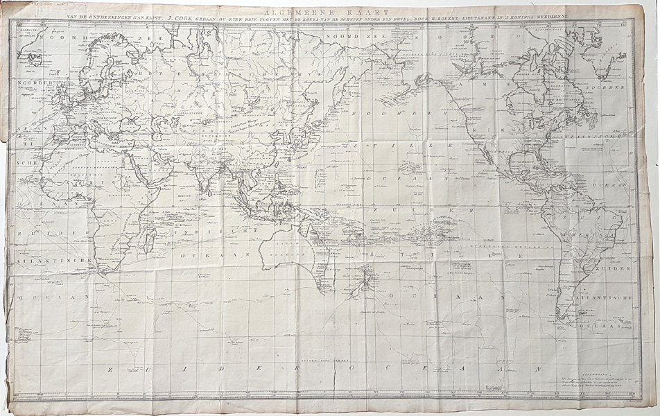 Dutch World Chart of Captain Cook's 3 voyages. c1785