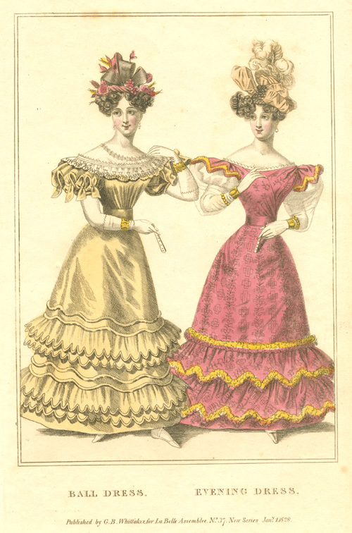 Ball Dress. Evening Dress. Ladies Fashion engraving c1828