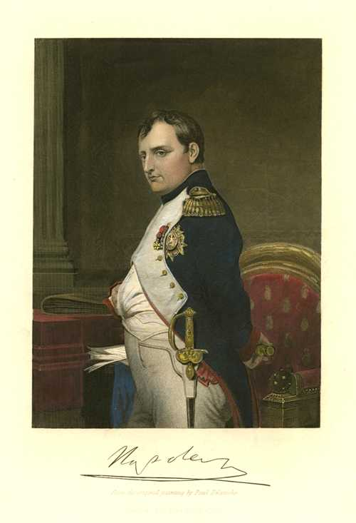 Napoleon, with facsimile signature below. Antique Print c1840