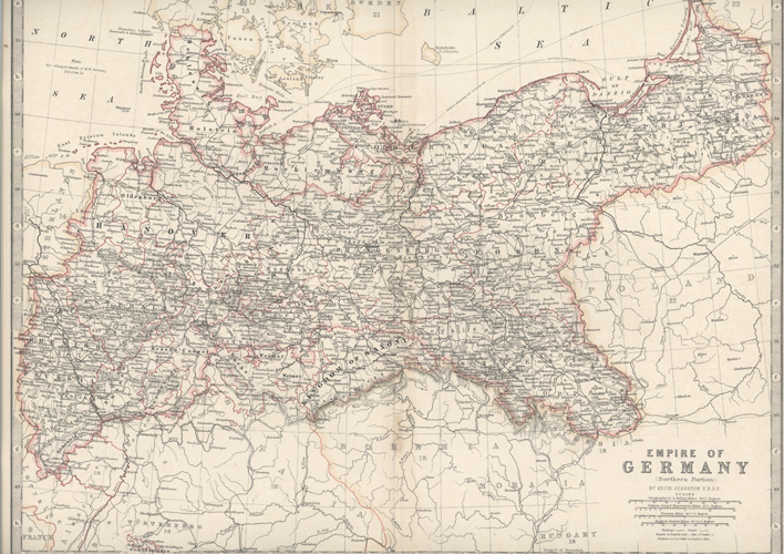 Empire of Germany (Northern Portion) by Keith Johnston F.R.S.E. c1861