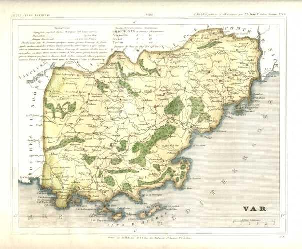 Antique Print Club | Var Carte Ancienne de Geographie de Departement. France Antique Map by ...