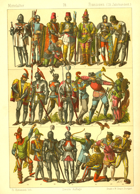 15th century French Knights in Armour with weapons.