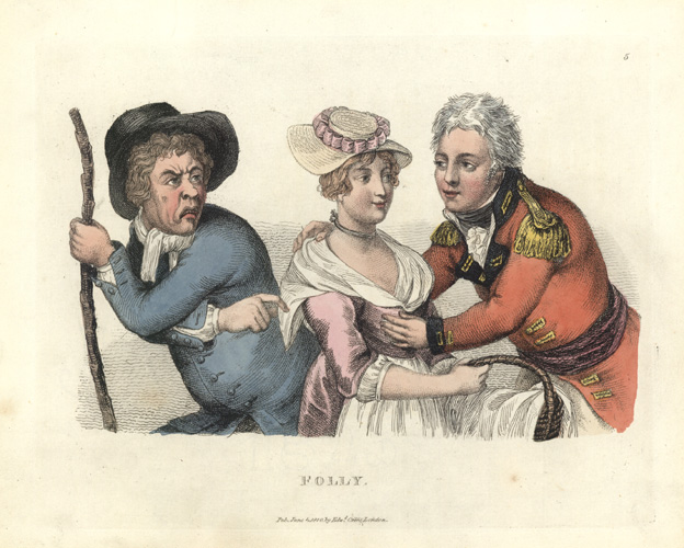 """Folly"". Rare John Collier - Timothy Bobbin caricature, c1810."
