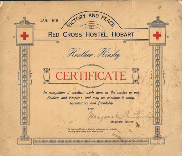 Victory and Peace. Hobart Red Cross Hostel, Hobart c1919
