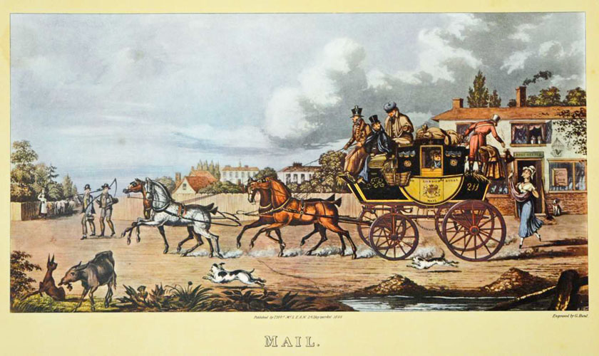 Village Mail Coach c1825. English Coaching print.