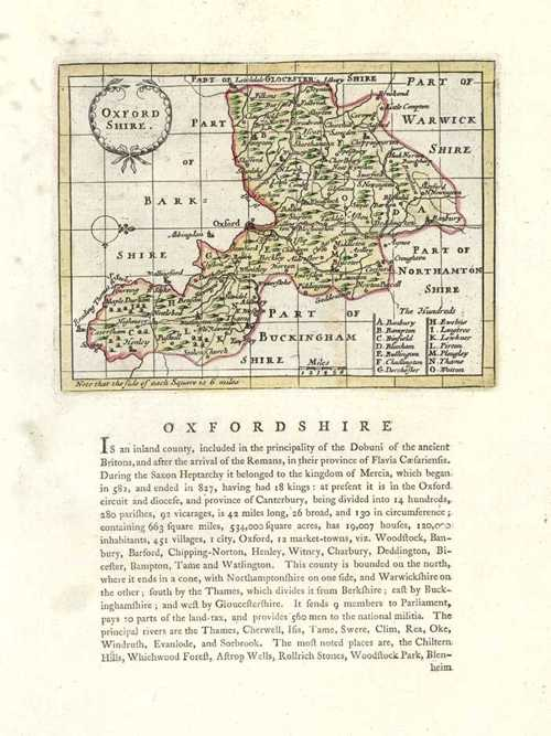 Oxfordshire Antique Map by Seller after John Speed. Francis Grose c1787