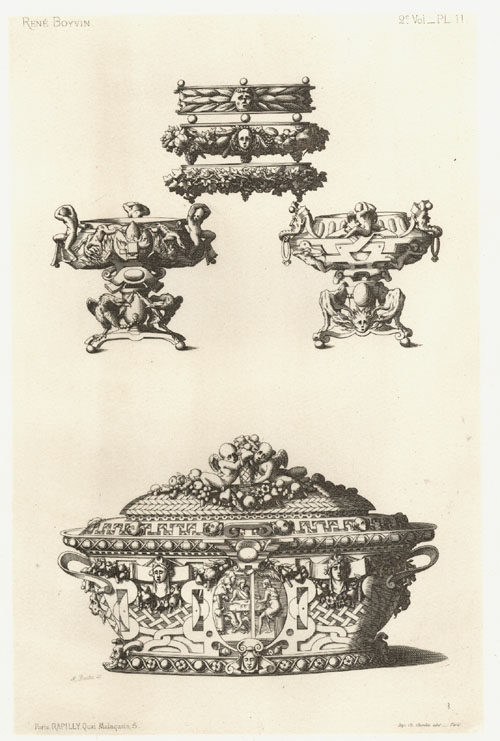 Intricate designs of containers and stands by Rene Boyvin. Antique Print c1863