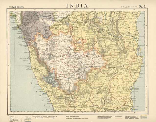 India map of Madras region. Mason & Payne, c1887.