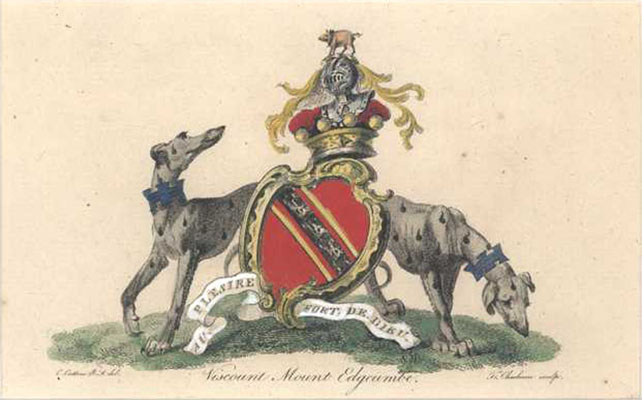 Heraldic Crest with greyhounds. Viscount Mount Edgcumbe. Catton c1790