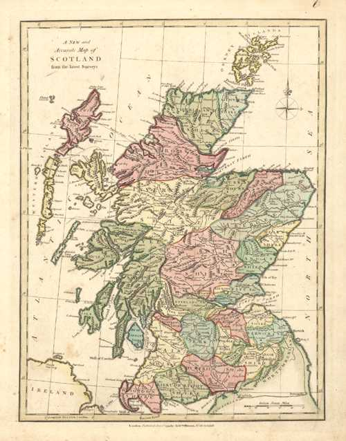 Scotland Antique Map by Robert Wilkinson c1794