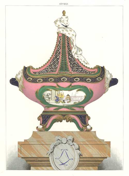 Lidded rose-coloured Sevres Porcelain Vase decorated with drape and a masted ship. Antique Print c1890.