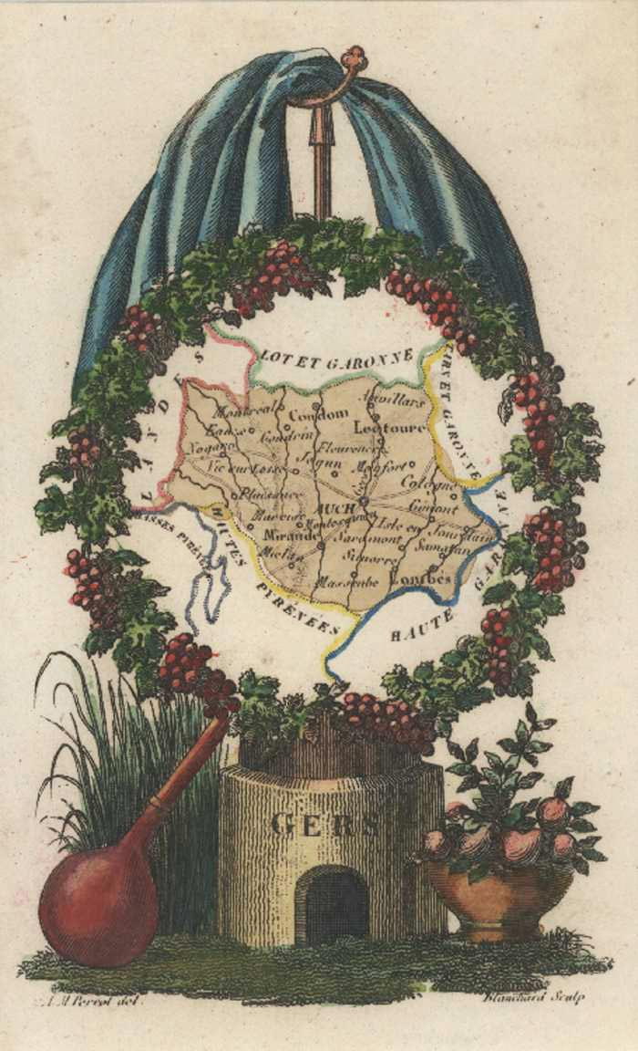 Gers, Gascony, Midi-Pyrenees, France Miniature Antique Map. Perrot c1834