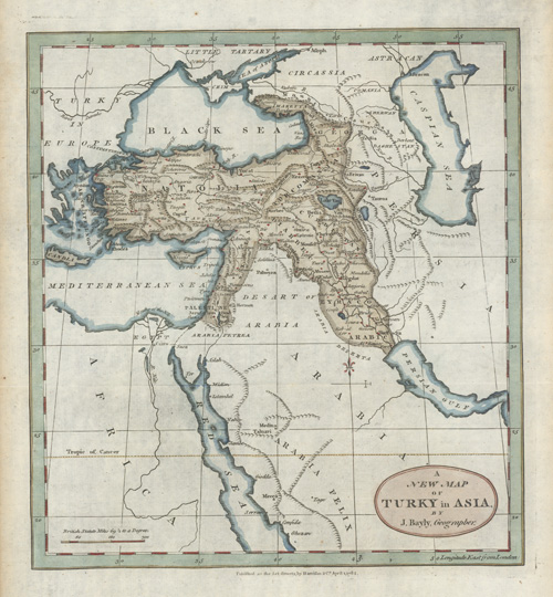 A New Map of Turky in Asia by J. Bayly, Geographer c1782.