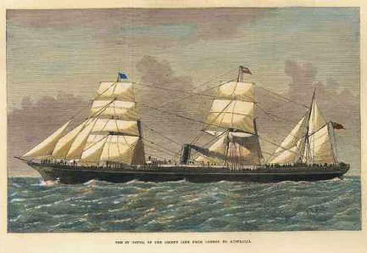 SS St. Osyth of the Orient Line, London to Australia, c1874.