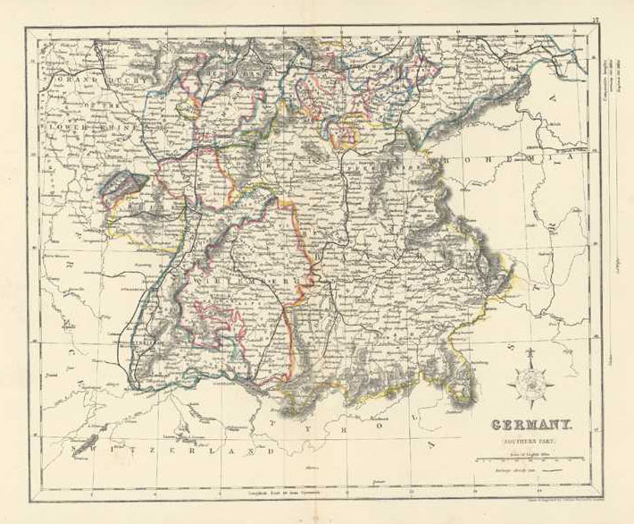 Germany, Southern Part Antique Map by J. Archer c1836