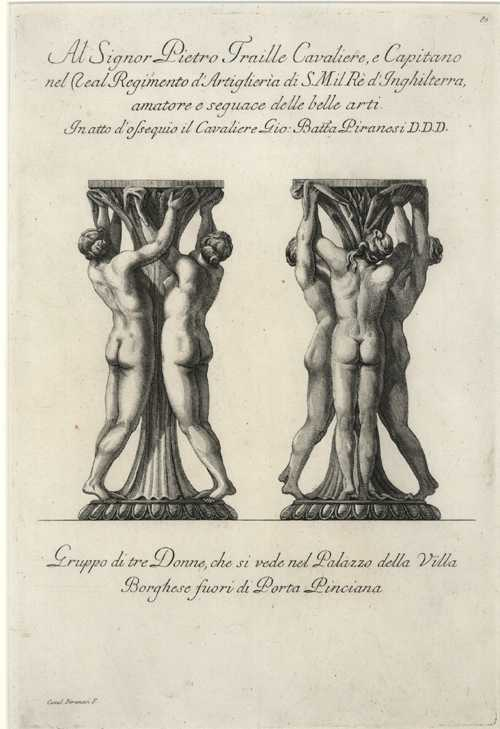 Rare Piranesi etching of Pedestals with Three Ladies c1778.