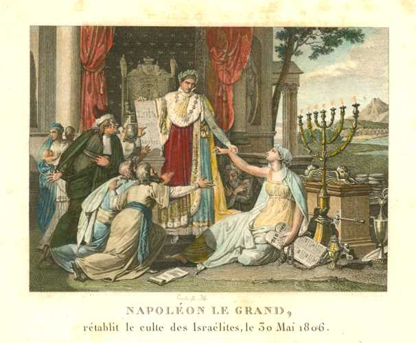 Napoleon le Grand and Israelites. Acknowledging Jewish culture. Engraving c1810