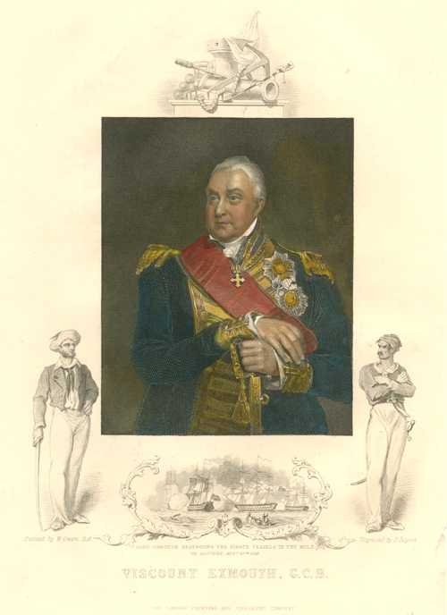 Naval Portrait. Viscount Exmouth Antique Print c1853