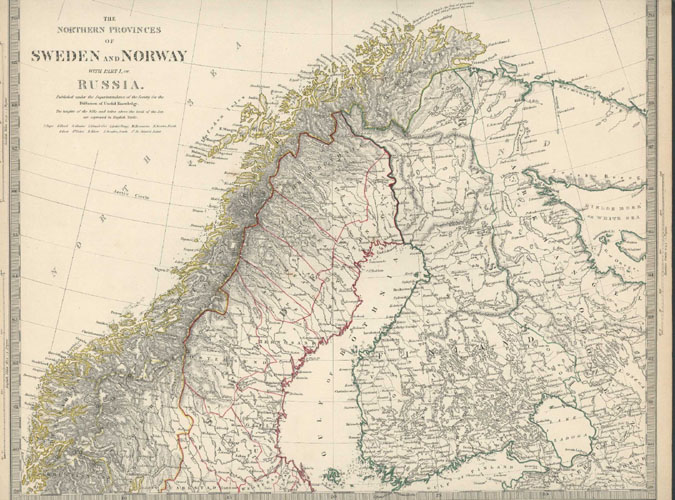 The Northern Provinces of Sweden & Norway and Part of Russia. J.&C.Walker. Chapman Hall, c1844.