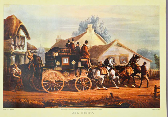 "English Coaching print: Small Country Inn departure. ""All right""."