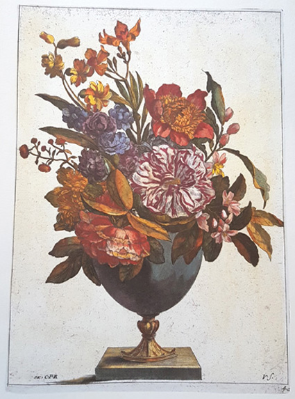 Elegant vase of colourful flowers and foliage. Reproduction print.