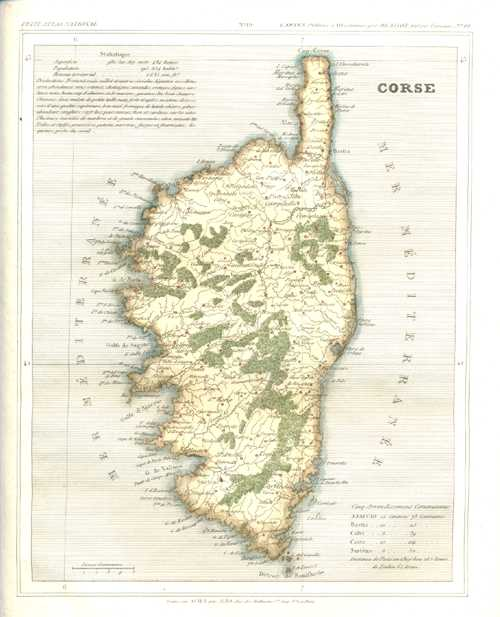 Antique Print Club   Corse or Corsica. Monin Antique Map. c1833