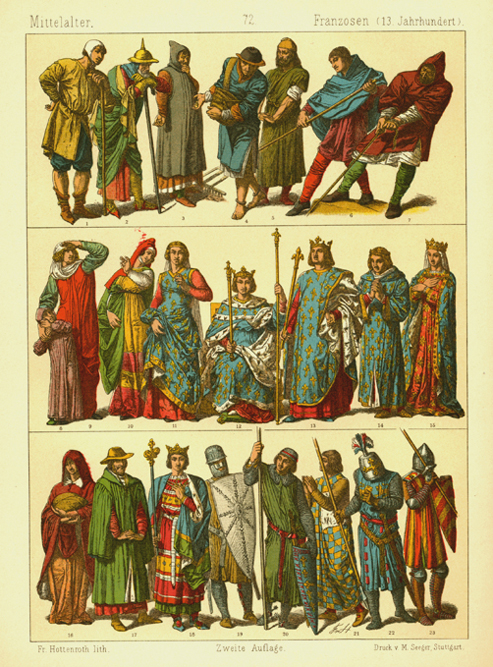 13th century Middle Ages French Fashions. Hottenroth  antique print c1886.