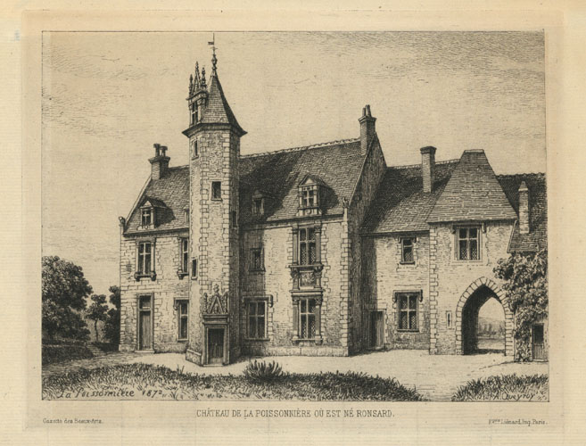 French Chateau de la Poissonniere.. ne Ronsard. Etching c1872