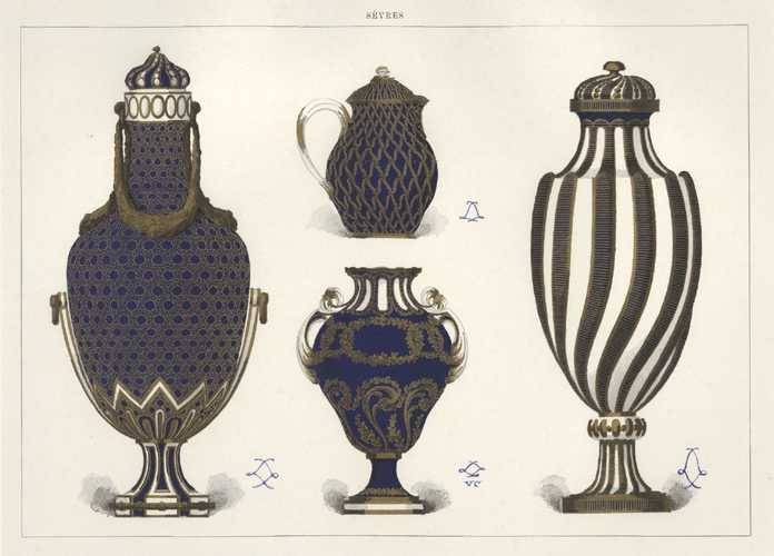 Sevres French Porcelain of Royalty. Beautiful Vases & Jug lithograph c1890