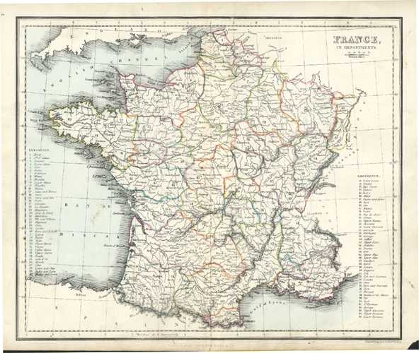 France in Departments. Antique Map by Alex Findlay & W. Tegg c1853