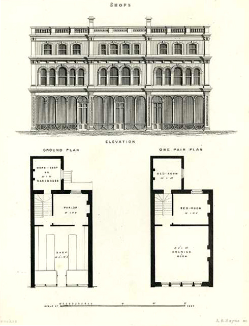 English Architecture. Tarbuck elevation of Shops with home above c1850