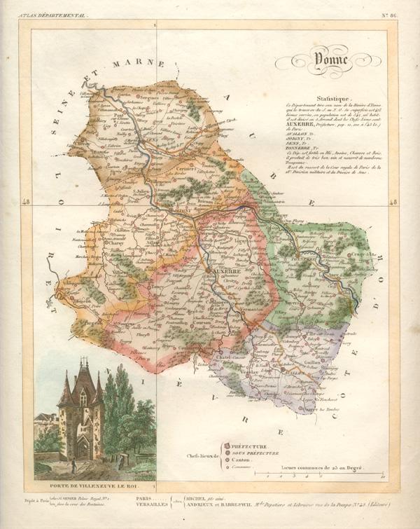 Map Of Yonne France.Antique Print Club Yonne Department Of France Lorrain Antique Map