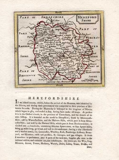 Herefordshire Antique Map by Seller after John Speed. Published by Grose c1787