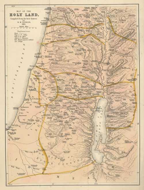 Map of the Holy Land, from best sources. Thomson c1880