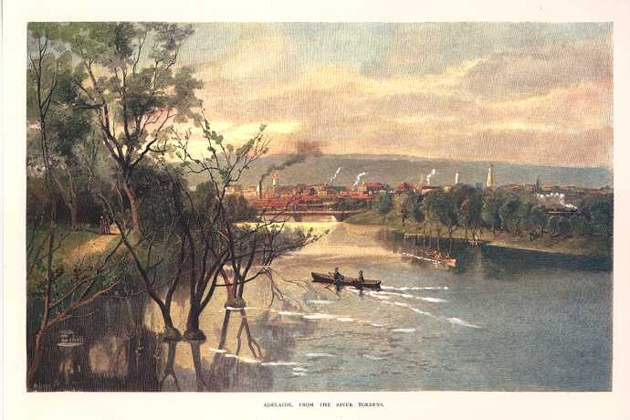 View of Adelaide from River Torrens in 1886. Reproduction print.