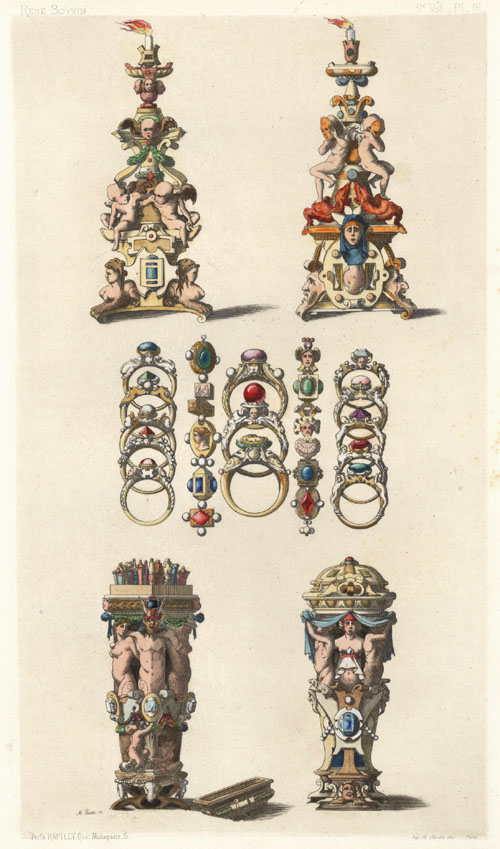 Intricate French design of rings etc. by Rene Boyvin. Antique Print c1863