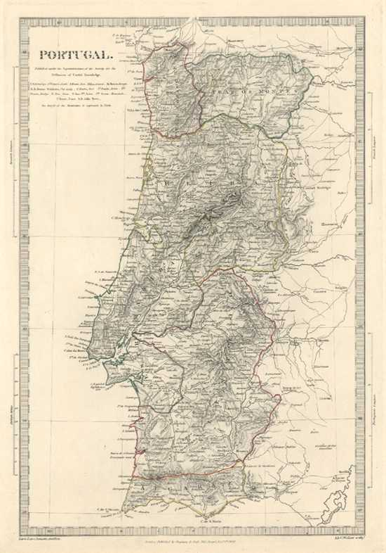 Portugal. Diffusion of Useful Knowledge antique map. J & C Walker c1830