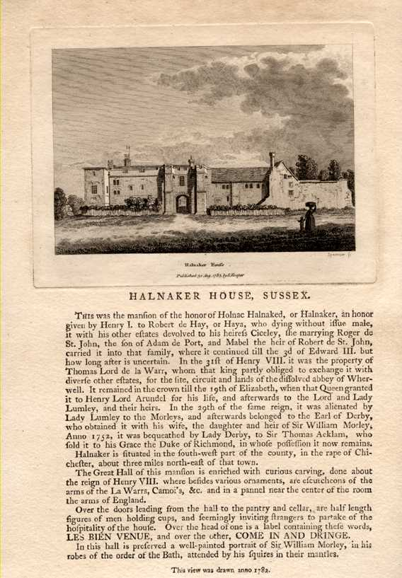 Grose engraving of Halnaker House, Sussex with text. c1785