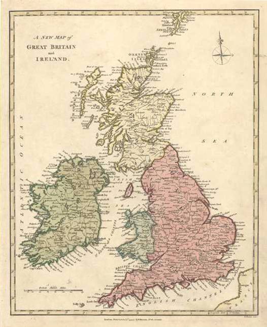A New Map of Great Britain and Ireland, c1794