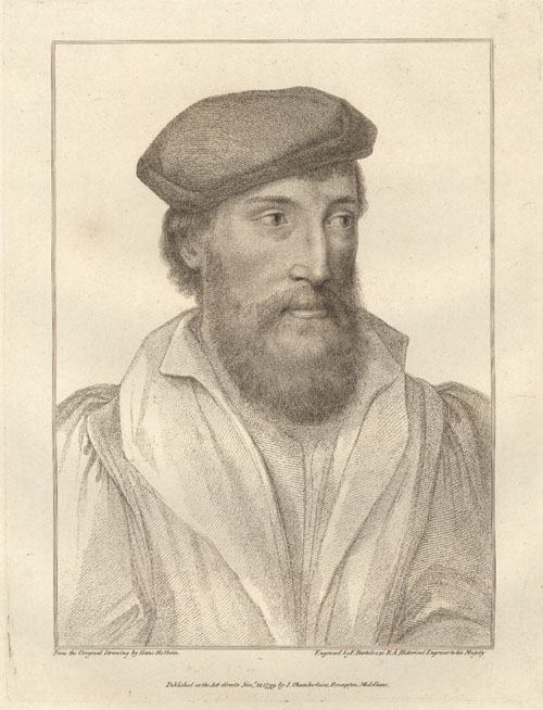 Holbein portrait of a man, engraved by Bartolozzi c1799