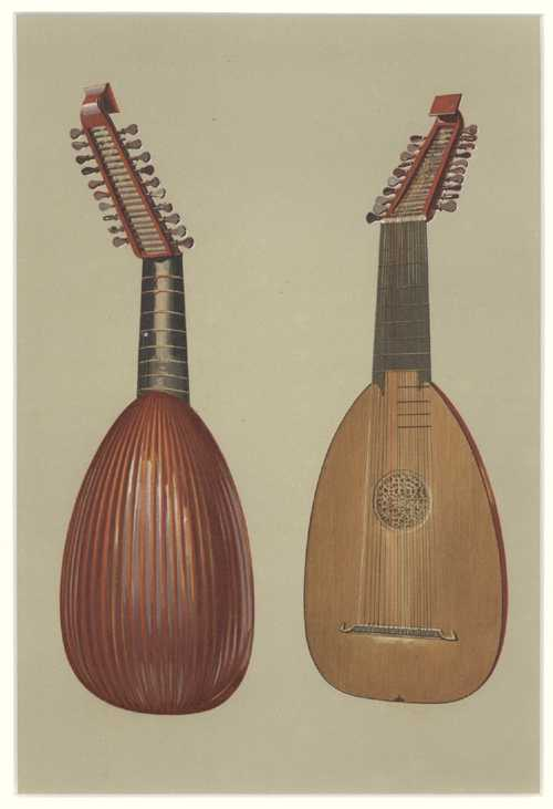 Hipkins' Musical Instruments. Lute antique print c1888