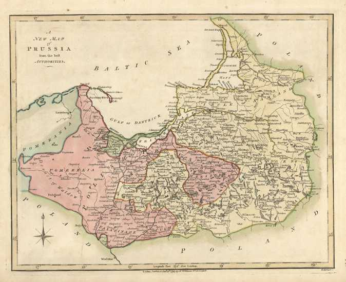 A New Map of Prussia from the best Authorities, by Wilkinson c1794