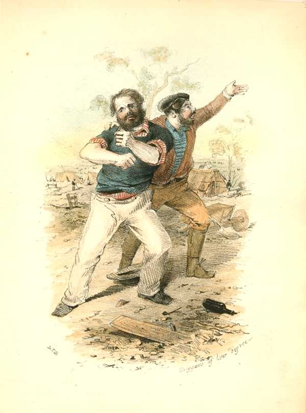 Australian Goldfields. Diggers of Low Degree S.T. Gill lithograph c1853