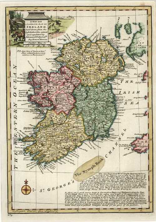 Print Map Of Ireland.Antique Print Club New And Accurate Map Of Ireland Emanuel Bowen