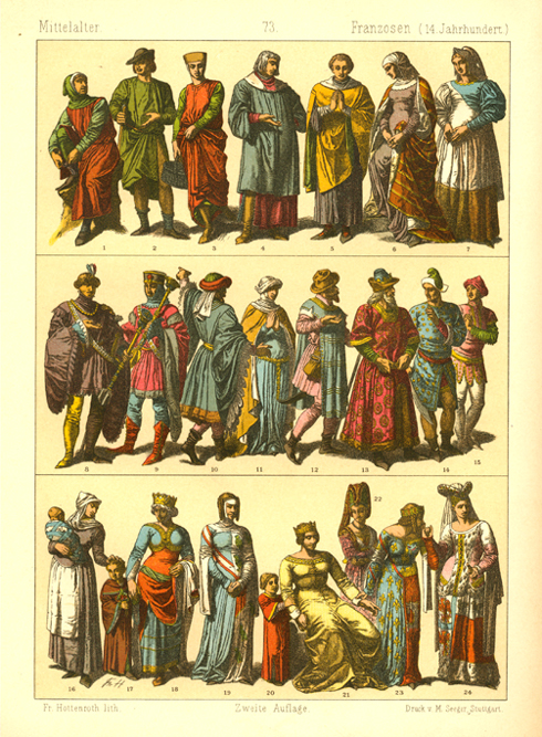 14th century French Dress. Hottenroth lithograph c1886.