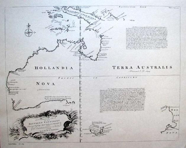 First English Map of Australia. Heritage Editions Bowen map from 1744.